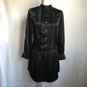 Banana Republic Black Silk Long Tunic Blouse